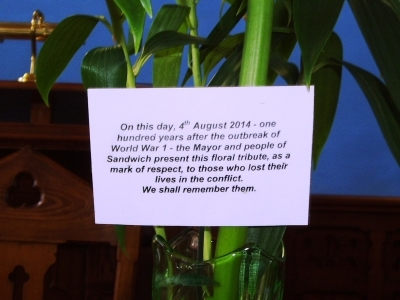 Lillies card from  Sandwich Town Council 4th Aug 2014